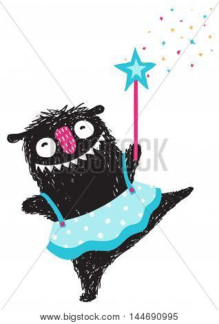 Happy funny little girl monster dancing ballet. Children cartoon illustration. Vector drawing.