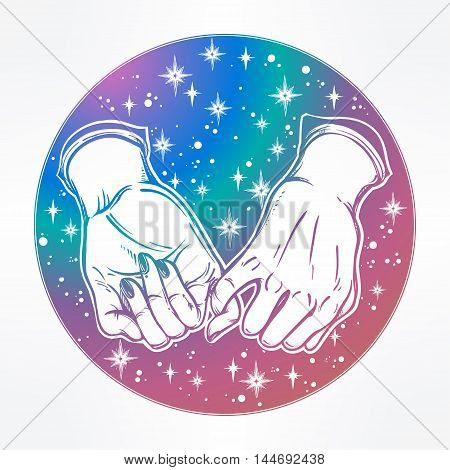 Pinky promise, hand holding on the starry dreamy ethereal background. Vector illustration isolated. Minimalist tattoo design, trendy friendship symbol for your use.