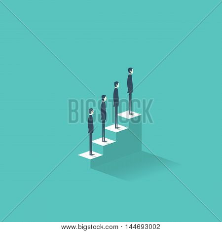 Career growth vector illustration concept with business people standing on stairs to the top. Job and work development, progress. Eps10 vector illustration