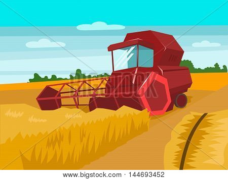 Harvester gather wheat. Harvesting landscape. Cartoon colorful vector illustration