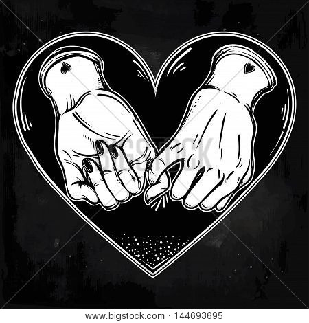 Pinky promise, hand holding on the heart background. Vector illustration isolated. Minimalist tattoo design, trendy friendship symbol for your use.