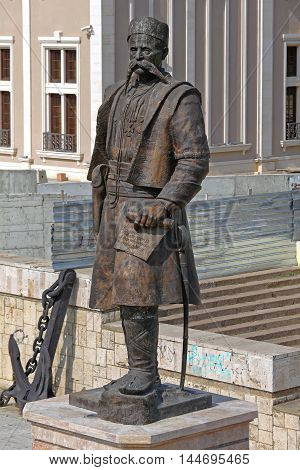 SKOPJE MACEDONIA - SEPTEMBER 17: Statue of Georgi Pulevski in Skopje on SEPTEMBER 17 2012. Bronze Monument of Gjorgji Pulevski in Skopje Macedonia.