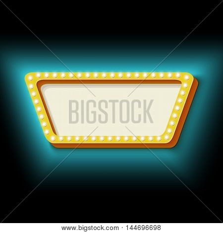 Vintage frame trapezoid with lights. 3d retro shape lamps. Neon blue light falls on the black wall. Blank white space for your text. Design element for your banner. illustration.