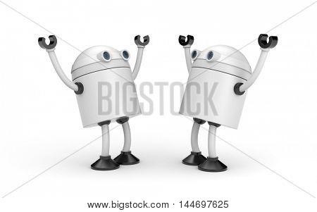 Joyful meeting of two robots. 3d illustration