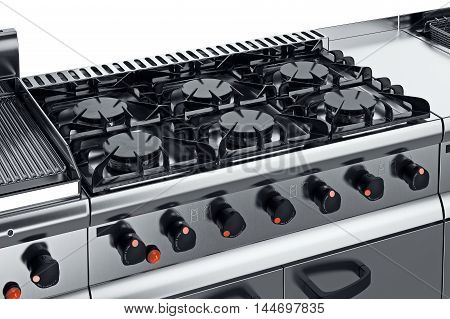 Kitchen equipment steel burner with knob, close view. 3D graphic