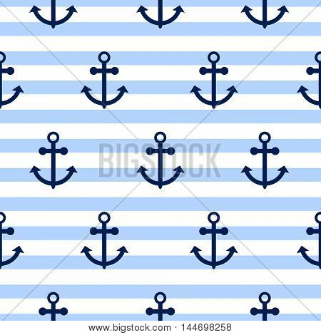 Seamless vector pattern with nautical anchors. Sea theme anchor blue horizontal stripe repeat background.