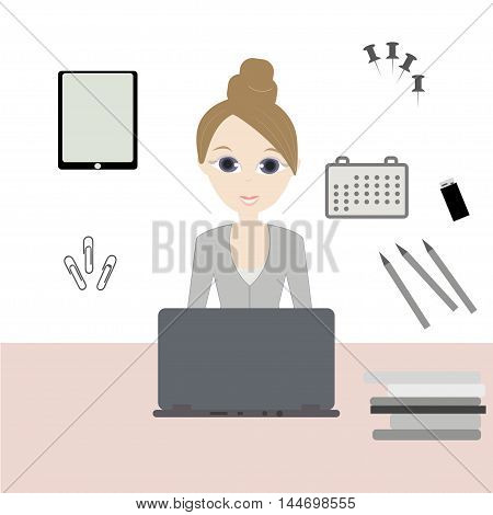 Business Woman. Workday and workplace concept. Vector illustration of a woman in the office