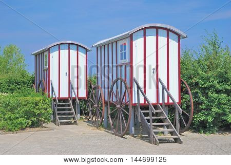 historic Beach Carriages at Promenade of Bansin,Usedom Island,baltic Sea,Mecklenburg western Pomerania,Germany
