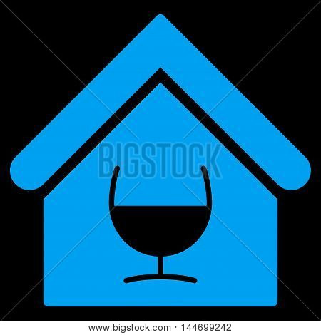 Alcohol Bar icon. Vector style is flat iconic symbol, blue color, black background.