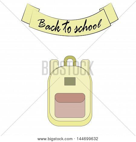 Back to school flat design modern vector illustration background with education icon set. School supplies : schoolbook, notebook, pen, pencil, paints, stationary, training aids, ball, school bag etc.