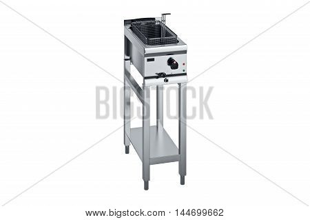 Kitchen equipment for cooking chrome fryer. 3D graphic