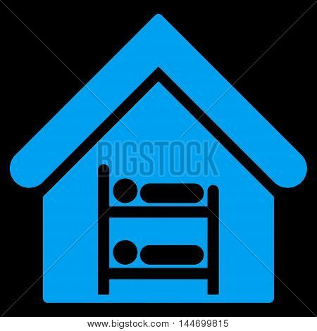 Hostel icon. Vector style is flat iconic symbol, blue color, black background.