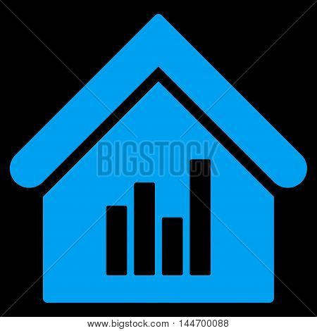 Realty Bar Chart icon. Vector style is flat iconic symbol, blue color, black background.