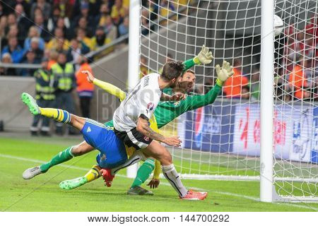 STOCKHOLM, SWEDEN - SEPTEMBER 8, 2015: Martin Harnik (Austria) scores a goal in an European Championship qualification game.