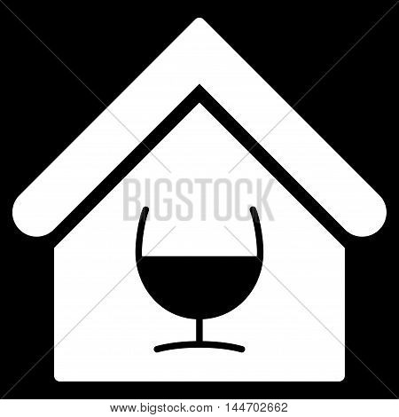 Alcohol Bar icon. Vector style is flat iconic symbol, white color, black background.