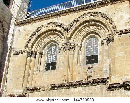 Jerusalem Israel - December 3 2012:Fronton of Church of the Holy Sepulcher.