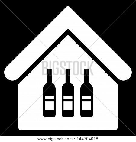 Wine Bar icon. Vector style is flat iconic symbol, white color, black background.