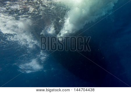 Marine Engine Propeller Underwater While Diving Detail