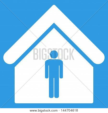 Man Toilet Building icon. Vector style is flat iconic symbol, white color, blue background.