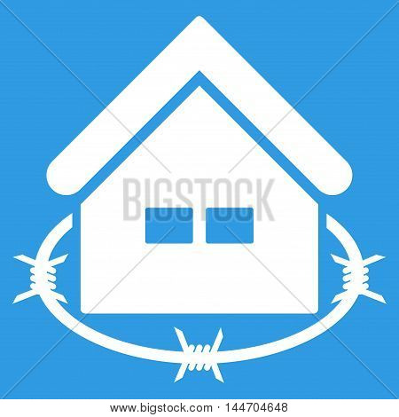 Prison Building icon. Vector style is flat iconic symbol, white color, blue background.