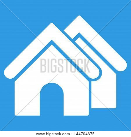 Real Estate icon. Vector style is flat iconic symbol, white color, blue background.