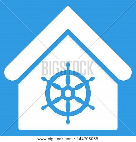 Steering Wheel House icon. Vector style is flat iconic symbol, white color, blue background.