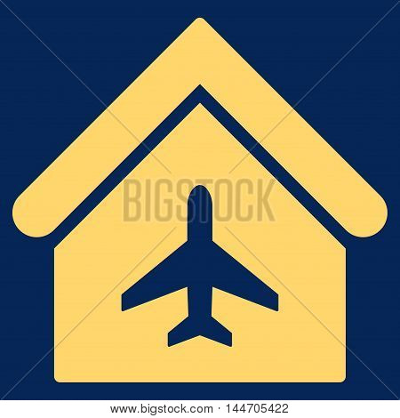 Aircraft Hangar icon. Vector style is flat iconic symbol, yellow color, blue background.