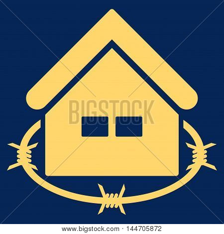 Prison Building icon. Vector style is flat iconic symbol, yellow color, blue background.