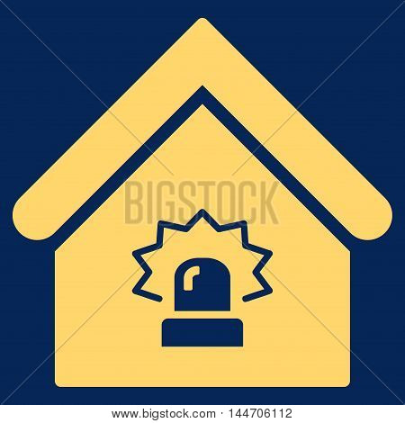 Realty Alarm icon. Vector style is flat iconic symbol, yellow color, blue background.