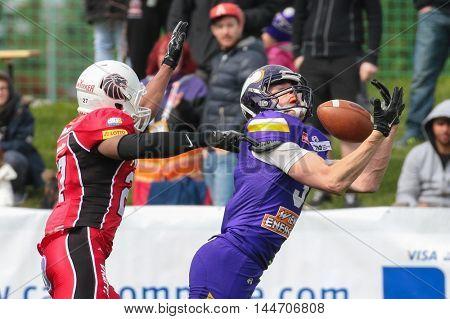 VIENNA, AUSTRIA - April 4, 2016: Dominik Bundschuh (Vienna Vikings) catches the ball in a game of the Big Six Football League.