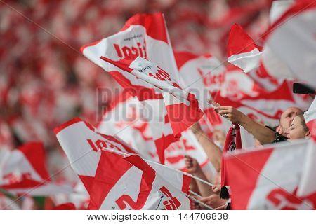 VIENNA, AUSTRIA - JUNE 4, 2016: Austrian fans wave their flags during a friendly football game.