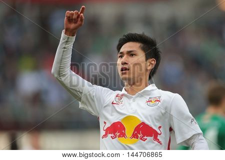 VIENNA, AUSTRIA - OCTOBER 4, 2015: Takumi Minamino (RB Salzburg) celebrates a goal in an Austrian Football League game.