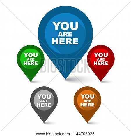 This is set map colorful pointers you are here