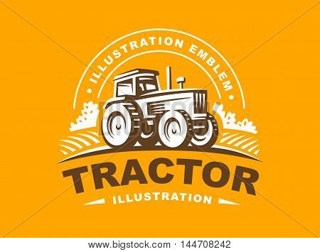 Tractor logo illustration on orange background, emblem design