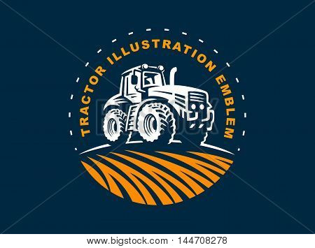 Tractor logo illustration on dark background, emblem design