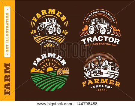 Set Illustration farm logo in vintage style on dark background