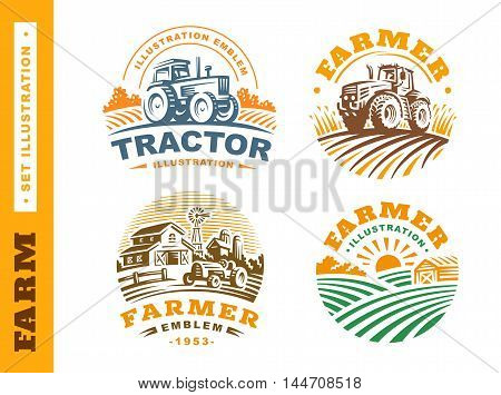 Set Illustration farm logo in vintage style on white background