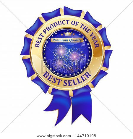 Best seller, Best Product of the year - elegant luxurious golden blue icon with fireworks, for business retail purposes.