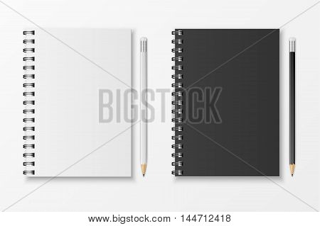 Blank realistic spiral notebook and pencil isolated on white background. Vector EPS10 illustration.