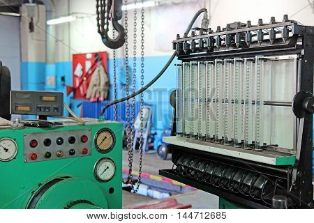 The image of a diesel injector diagnostic and repair machine
