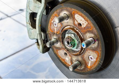 close up and detail rusty brake disk of the wheel
