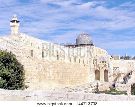 Jerusalem Israel - December 2 2012: General view of Al-Aqsa Mosque.