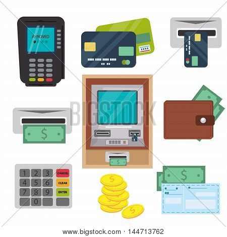 Money ATM - cash machine vector icons set. Payment design atm icons self-service terminals currency dollar credit business sign. Finance and business vector atm icons money bank card.