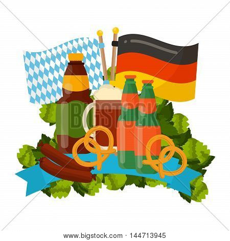 Oktoberfest celebration vector poster. Oktoberfest vector text. Beer Oktoberfest German festival keg of beer bottle beer. Festive Oktoberfest Banners Headers with Beer Wurst Flag and Pretzel.