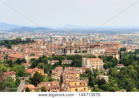 Panorama Of Upper City Citta Alta In Bergamo, Italy
