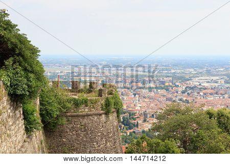 Castle Castello Di San Vigilio Tower And Bergamo Cityscape Panorama, Italy