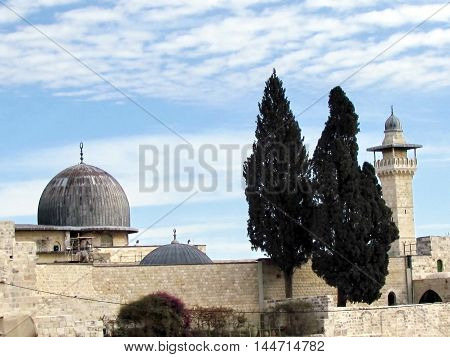 Jerusalem Israel - December 2 2012: Two cypress on the roof of Al-Aqsa Mosque in the old city.