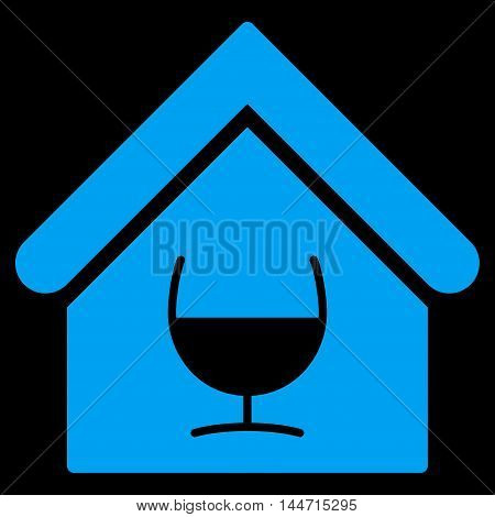 Alcohol Bar icon. Glyph style is flat iconic symbol, blue color, black background.
