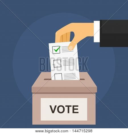 Vote for election concept on dark blue. Hand puts voting ballot in ballot box in flat style