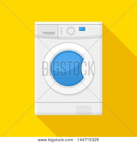 Washing machine icon isolated on yellow background. Equipment housework laundry wash clothes. Washer icon in flat style.